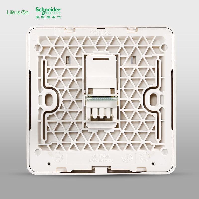 施耐德家用86型开关插座面板 单联电话插座 E8331RJS4 绎尚薄暮金