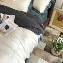 北欧风格全棉被套床上四件套美式酒店风纯棉简约白色AB版双面床品