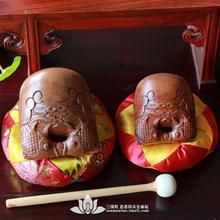 三漫陀 佛教用品 法器木鱼铜罄木鱼 花梨木木鱼配垫子锤木鱼