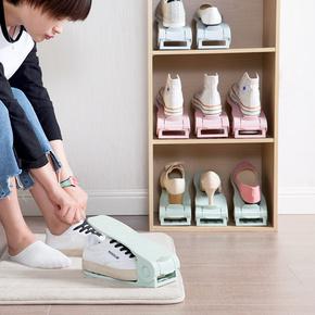 可调节双层鞋架创意塑料简易鞋托架 家用省空间一体式鞋子收纳架