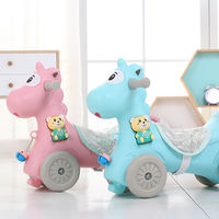 Junlong rocking horse Trojan child rocking horse age gift baby with music small plastic baby rocking cradles