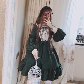 逗酱工作室原创正品【唐顿庄园】哥特Lolita墨绿宫廷裙黑暗连衣裙