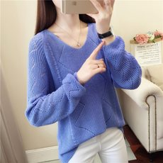 2019 new spring is very popular tops foreign thin sweater female wild V-neck loose bottoming hollow sweater