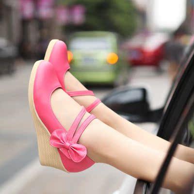 2017春季新款单鞋高跟坡跟扣带女式时装鞋子女款浅口皮鞋女士女鞋