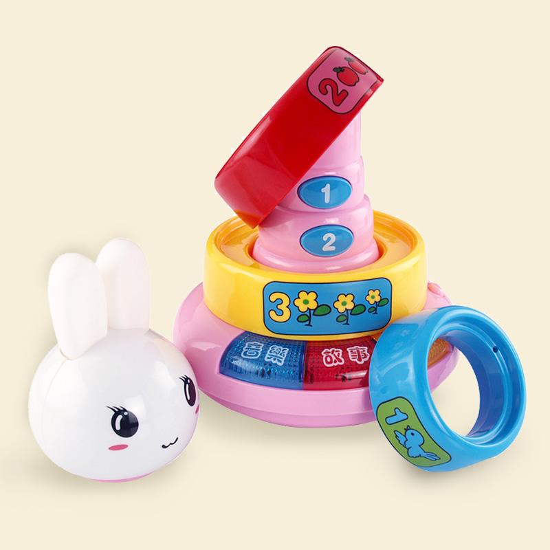 宝丽婴儿彩虹圈宝宝叠叠乐套圈玩具儿童叠叠杯7-8-9-10-11九个月