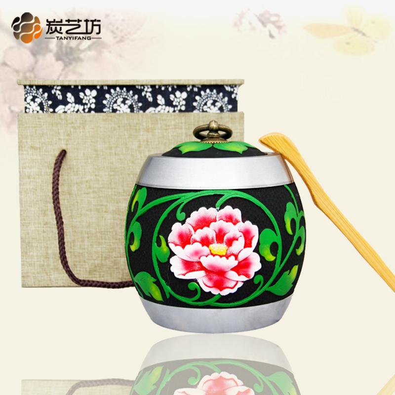 创意复古送朋友客户领导商务礼品家居办公用品中式茶具炭雕茶叶罐