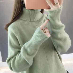毛衣女2018新款网红纯色高领宽松慵懒风套头加厚针织打底衫秋冬女