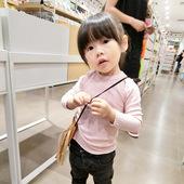 女童秋装 螺纹长袖 圆领打底衫 中小童纯色长T恤4457 韩版 2018新款