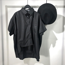 Originally Chao Men's Summer New Designer Irregular Short-sleeved Shirt Dark Wind Personality Short-style Slim Shirt Trend