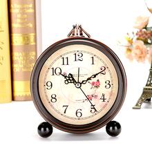 欧式复古学生小闹钟 创意床头钟表摆件静音卧室座钟简约台钟时钟