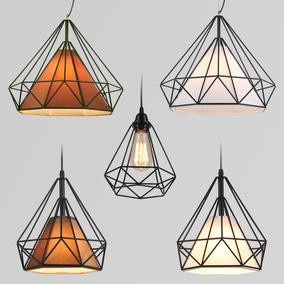 北欧现代简约餐厅创意个性灯具铁艺饭店复古理发店发廊小钻石吊灯