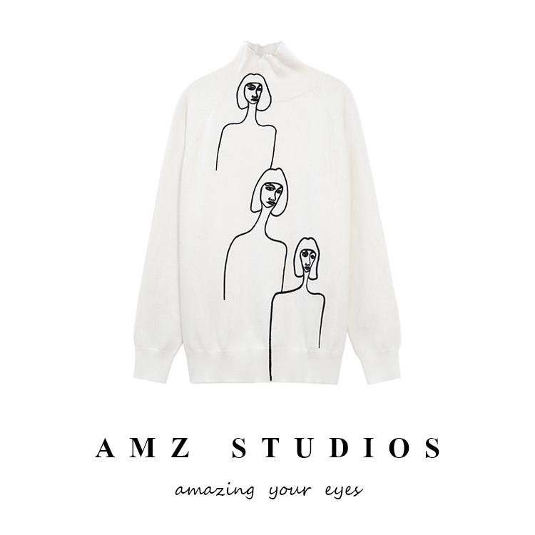 amz 貝嫂拉風時髦三個女人抽象簡筆畫 高領針織套頭毛衣女