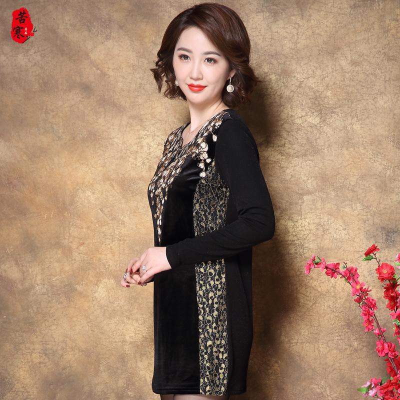 中老年女装蕾丝连衣裙加绒中长款打底衫中年长袖妈妈冬装大码裙子