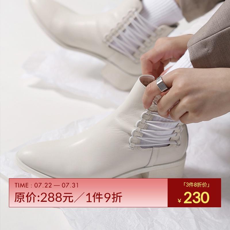 一拾方定制女靴2018秋冬季新款短筒中跟靴镂空绑带真皮鞋切尔西靴