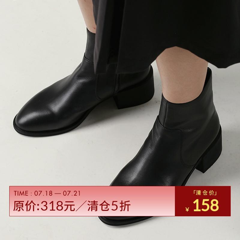 一拾方女靴粗跟真皮短靴切尔西靴中跟马丁女靴子女鞋2018新款秋冬