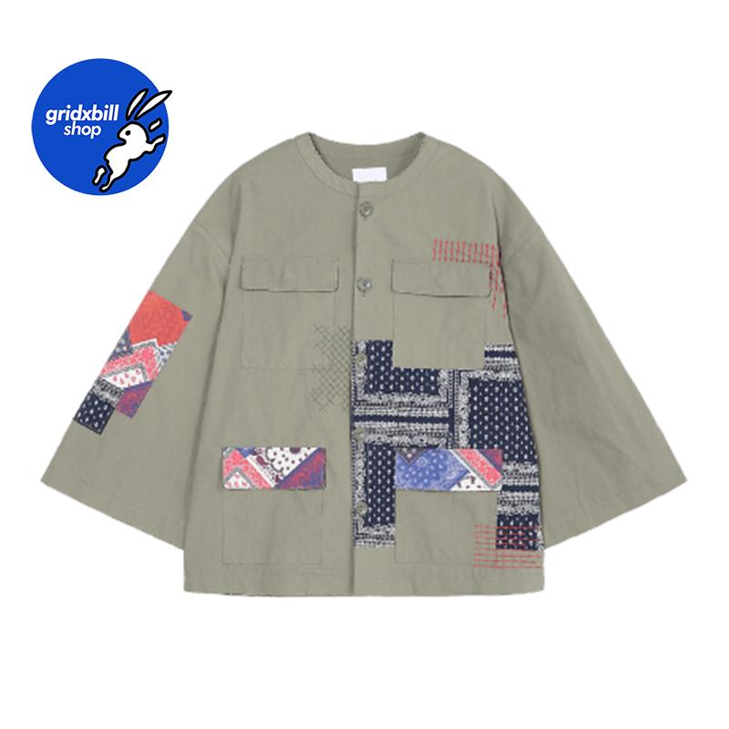 折扣 SJYP 18春夏 軍綠色特色花紋貼布刺繡寬袖圓領短外套夾克