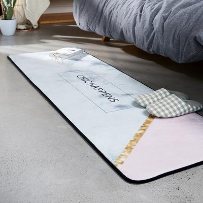 INS床前少女植物地毯 长方形卧室满铺可爱北欧简约床边毯地垫机洗