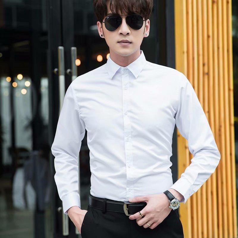 春秋白襯衫男長袖韓版修身商務正裝職業工裝短袖結婚伴郎西裝襯衣圖片