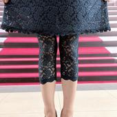 2019欧洲站女新款防走光安全薄款高腰美腿显瘦弹力蕾丝打底裤