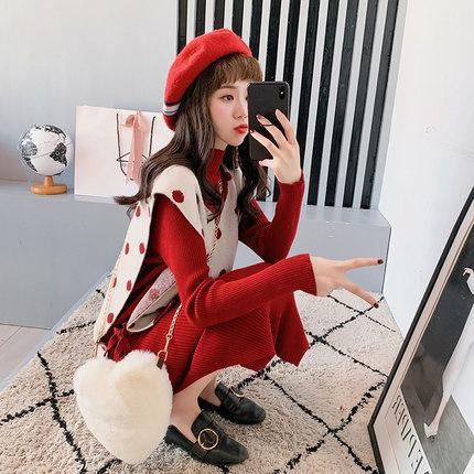 很仙的毛衣套装裙女长款过膝2018新款红色针织背心两件套洋气百搭