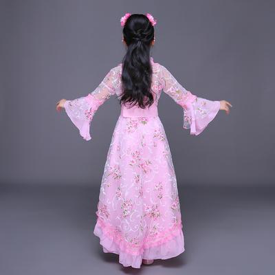儿童古装女汉服唐朝贵妃拖尾公主仙女古风走秀清新淡雅古筝演出服