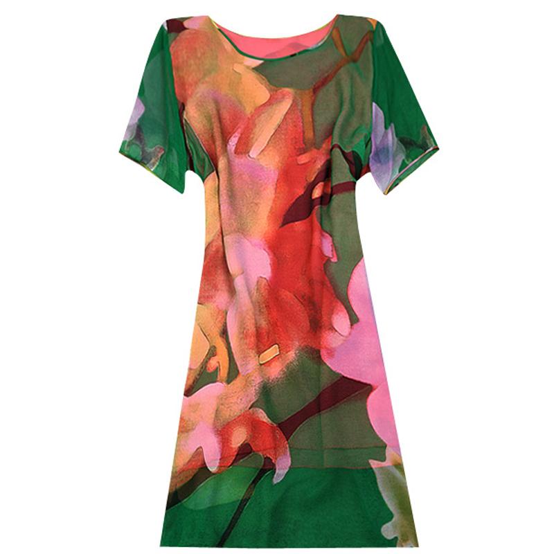 妈妈新款夏装真丝连衣裙大码中年女装30岁-50岁夏季时尚宽松裙子