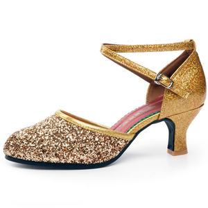 香蜜姿拉丁舞鞋女成人中跟高跟新款舞蹈鞋软底交谊广场舞跳舞女鞋