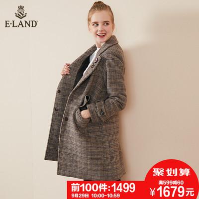 限时1499|ELAND2018秋冬新款英伦格纹胸针保暖毛呢大衣外套女