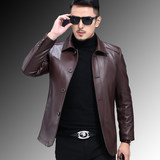 Haining leather top leather jacket men's large lapel leather jacket middle-aged and old people plus cotton thin jacket new style in 2019