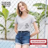 Teenie Weenie小熊夏季女装字母印花短袖T恤TTRA72390Q#