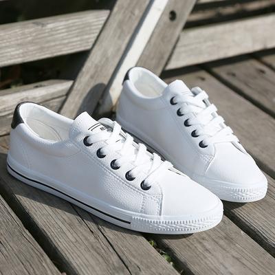 人本皮面平底小白帆布鞋女 韩版潮学生板鞋单鞋球鞋 休闲低帮女鞋