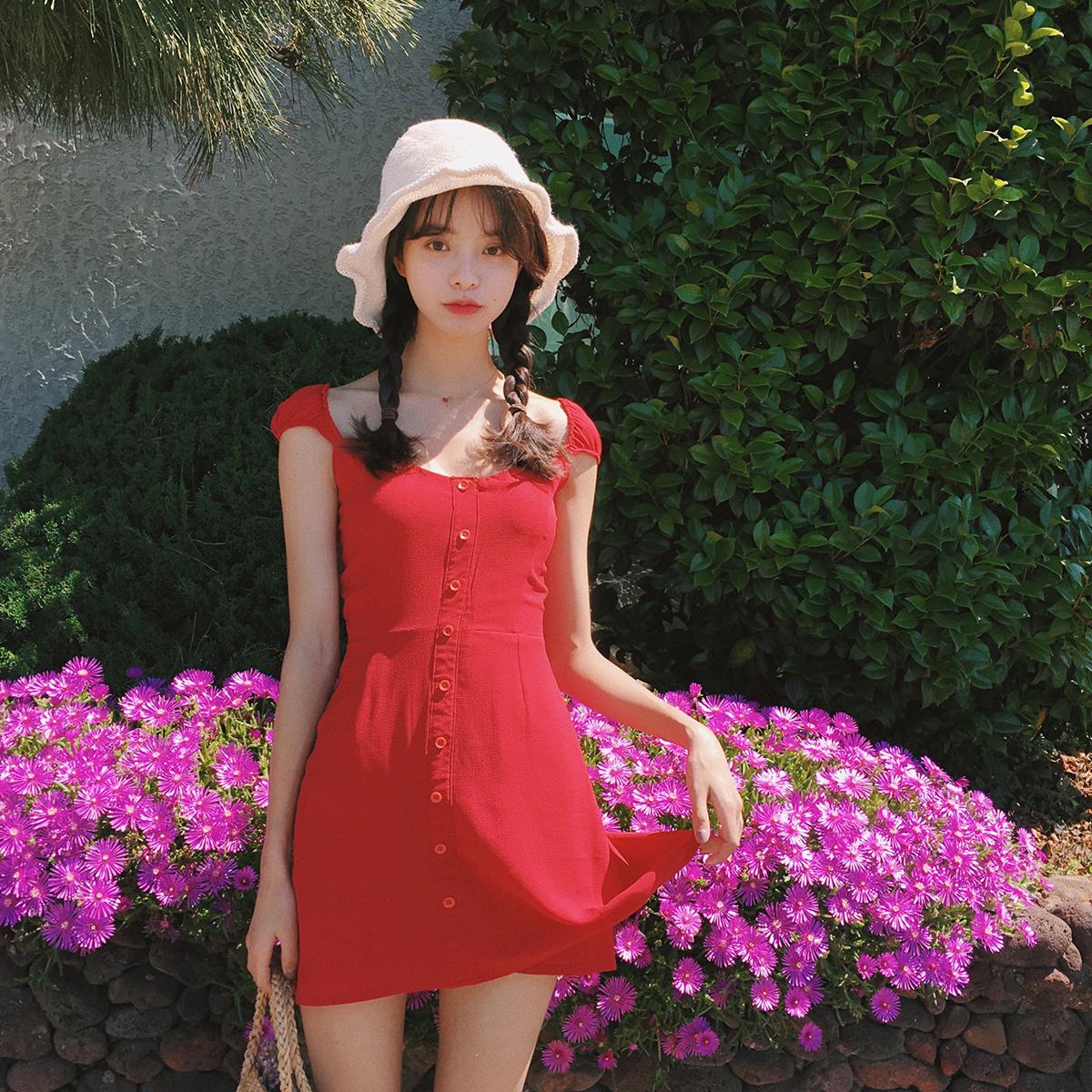范智乔 女夏2017新款甜美显瘦少女心红色连衣裙小清新收腰a字中裙3元优惠券