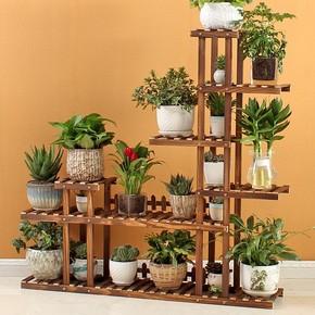 高脚长简易植物托盘多层防腐木花架护栏风格花瓶攀爬庭院结实中式