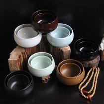 纯黑素食碗钵僧人饭碗咖啡色黄色钵盂复古佛文化釉下彩青瓷陶瓷碗
