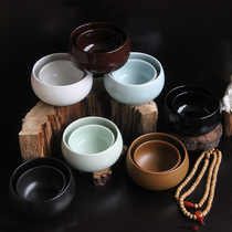 Pure black vegetarian bowl bowl bag dust Monk bowl bowl retro Buddhist culture underglaze color Celadon ceramic bowl wooden spoon home bag