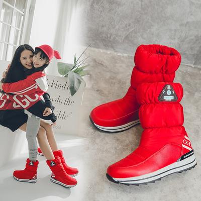 冬季户外雪地靴女中筒防滑防水加绒保暖亲子棉鞋东北羽绒摇摇鞋女