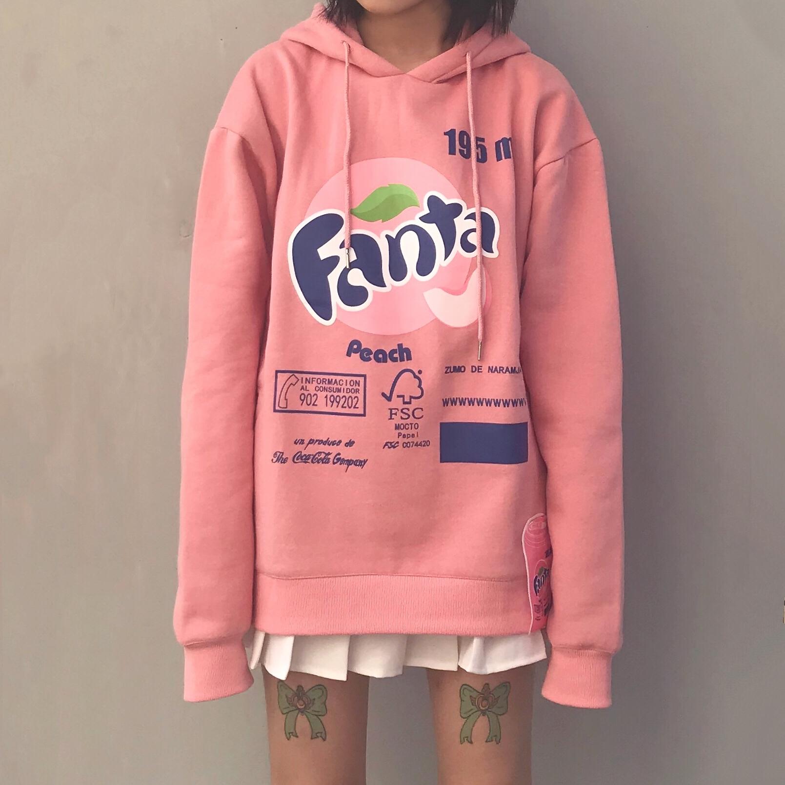 FWBS春季潮牌糖果粉色綠色寬松連帽男女同款情侶薄芬達衛衣嘻哈女圖片