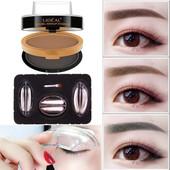 三对印章眉形一盒两层双色印章眉粉带眉刷持久防水防汗一秒画眉
