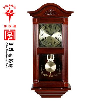 北极星挂钟纯铜机芯机械钟客厅实木家用摆钟上弦发条打点报时钟表