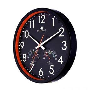 北欧客厅带温湿度计日历静音挂钟卧室创意时钟表简约现代石英钟圆