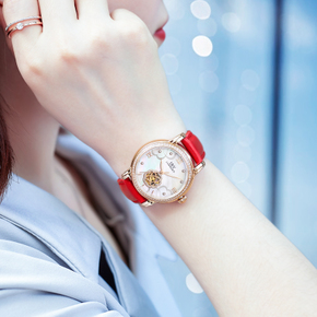 正品IBV手表女士机械表全自动防水时尚款女2017新款真皮镂空镶钻