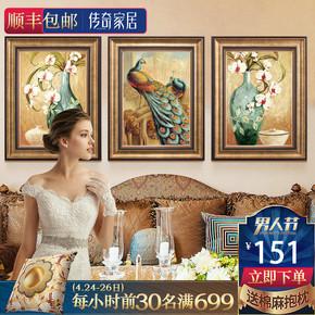 家庭客厅沙发背景墙现代北欧三联歺厅挂画装饰画玄关壁画手绘油画