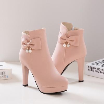 2017甜美侧拉链蝴蝶结粗跟超高跟厚底尖头绒里女士马丁短靴大码靴