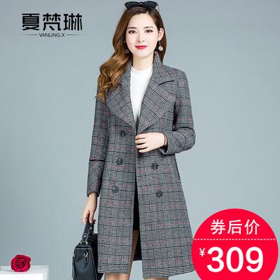毛呢子大衣女中长款韩版2018秋冬季新款妈妈妮子风衣女士格子外套
