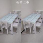 玻璃餐桌椅组合简约现代餐桌小户型餐桌玻璃餐桌长方形一桌四椅