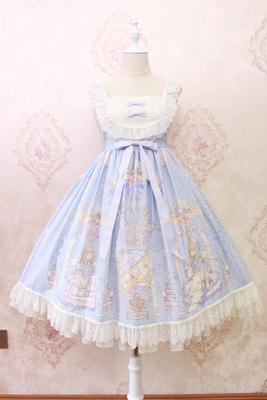 Alice girl原创新款 lolita天使柄蕾丝蝴蝶结绑带吊带连衣裙