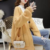 2019春装新款中长款针织衫外套女慵懒宽松韩版网红很仙的毛衣开衫