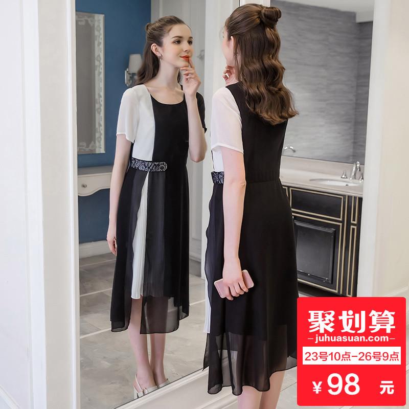 奢姿2018夏装新款大码女装胖妹妹显瘦百褶连衣裙200斤胖MM雪纺裙