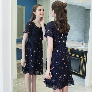 奢姿大码女装2019夏季新款胖mm200斤雪纺印花连衣裙宽松收腰A字裙