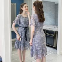 奢姿大码女装2018夏新款优雅蕾丝系带收腰显瘦连衣裙200斤胖妹妹